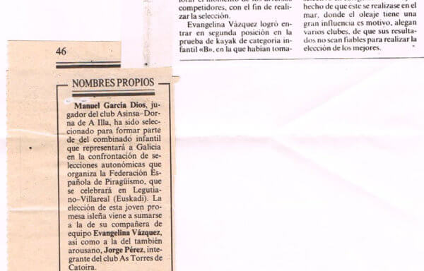 Evangelina Vázquez, del Asinsa-Dorna, y Jorge Pérez, del As Torres, convocados para la selección gallega de piragüismo