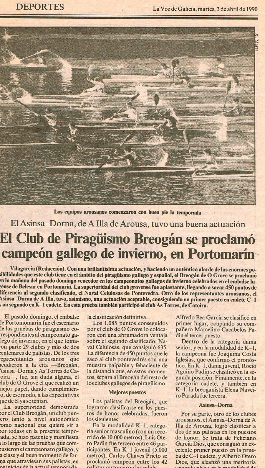 Prensa El Club de Piragüismo Breogán se proclamó campeón de invierno, en Portomarín