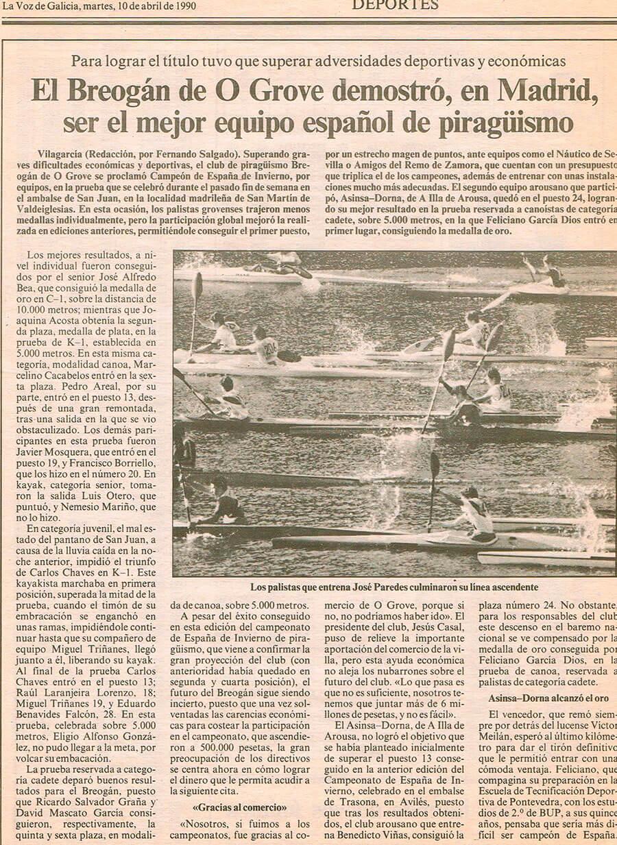 Prensa El Breogán de O Grove demostró, en Madrid, ser el mejor equipo español de piragüismo