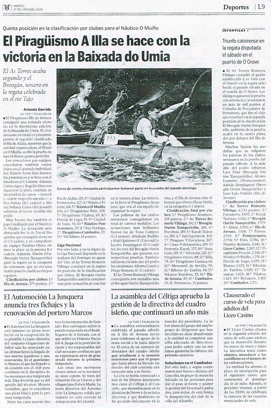 Prensa El Piragüismo A Illa se hace con la victoria en la Baixada do Umia