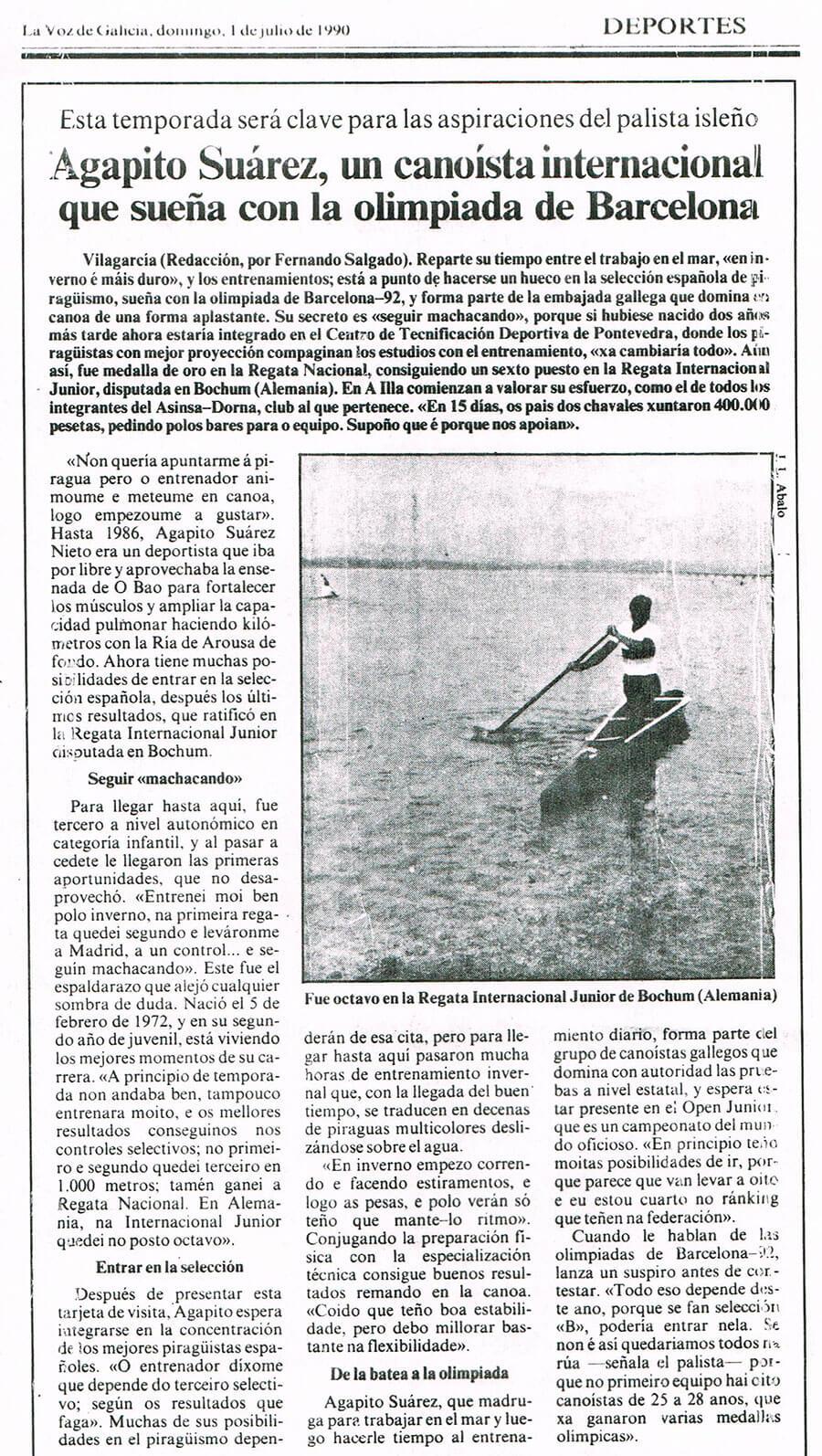 Prensa Agapito Suárez, un canoísta internacional que sueña con la olimpiada de Barcelona